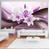 murando - Fototapete 350x256 cm - Vlies Tapete - Moderne Wanddeko - Design Tapete - Wandtapete - Wand Dekoration - Blumen Lilien Blitz Abstrakt Lila b-A-0250-a-c