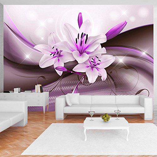 murando - Fototapete 300x210 cm - Vlies Tapete - Moderne Wanddeko - Design Tapete - Wandtapete - Wand Dekoration - Blumen Lilien Blitz Abstrakt Lila b-A-0250-a-c
