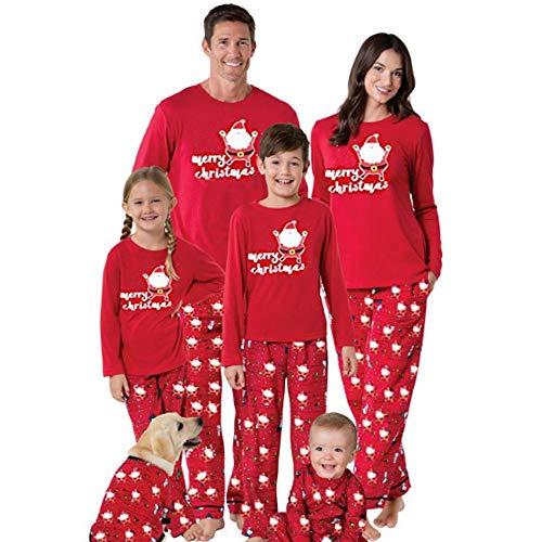 Familie Weihnachts-Pyjamas-Set, Santa-Lang Ärmel Schlaf-Homewear-Familie Passend Shirt Rot -