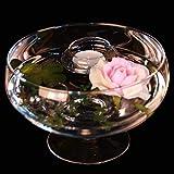 Runde Glas-Schale Roxy 75 Höhe 11cm ø 17cm. Flache Glasschale auf Fuß mit Dekoration Rose rosè Deko-Schale von Glaskönig