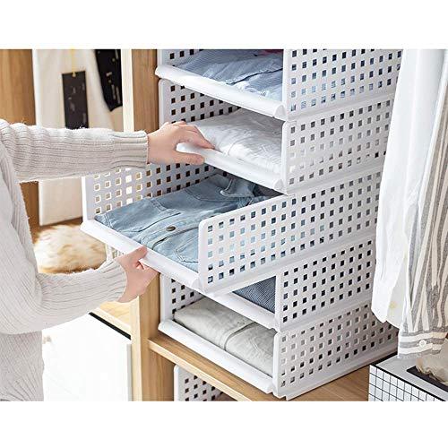 Yoillione Kleiderschrank Organizer Regal Garderobe Organizer,Weiße Kleiderschrank Aufbewahrung Schrank für Kleidung Organizer,Badezimmer Aufbewahrungskorb Stapelbar für Küche,Schlafzimmer -