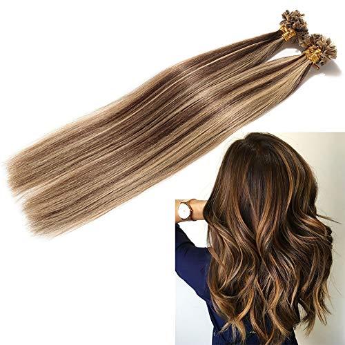 200 ciocche extension con cheratina capelli veri remy human hair lisci indiani 100g u tip hair extensions 50cm #4/#27 marrone cioccolato/biondo scuro
