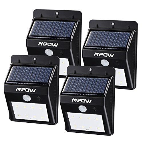 Mpow Luci Solari Lampada Wireless ad Energia Solare da Esterno con 8 Lampadine LED di Sensore di Movimento, per Parete / Giardino / Cortile / Scale / Muro, con Funzione di Dusk to Dawn Dark Sensing Auto On / Off - 8LED(4