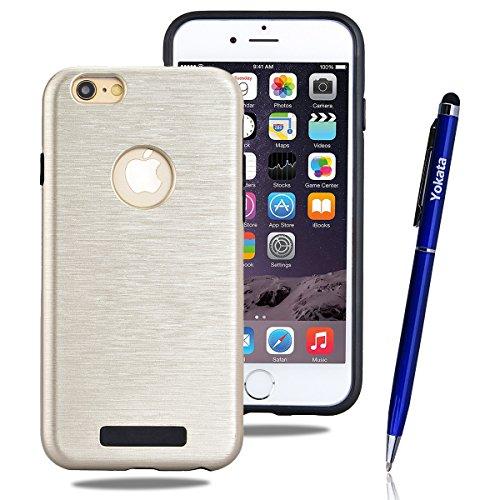iPhone 6 / iPhone 6S Hülle, Yokata 2 in 1 Cover 2 Layer Hybrid Case Innere Weich TPU Silikon Backcover mit Hart PC Rüstung Armor Case Schutz Anti-stoß Schutzhülle + 1 x Kapazitive Feder Gold