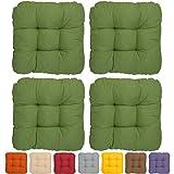 4er Set - Bequemes Stuhlkissen Lisa - 60x60x8 cm Grün - Loungekissen Besonders stark gepolstertes, weiches Sitzkissen
