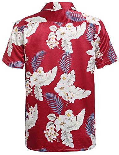 HOTOUCH Herren Hawaiihemd Urlaub Hemd Strandhemd Freizeithemd Hawaii-Print  mit Kurzarm Typ1-Rot ...