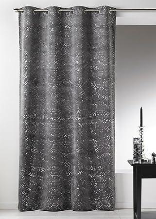 latest home maison al rideaux velours impression paillette avec oeillets ronds grisargent x cm. Black Bedroom Furniture Sets. Home Design Ideas