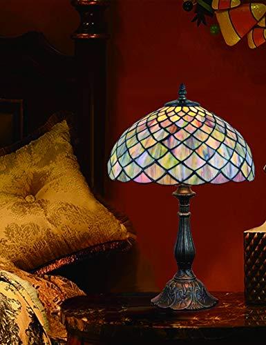 12-Zoll-Vintage Pastoral Glasmalerei Tischlampe Schlafzimmer Lampe Nachttischlampe -