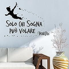 Idea Regalo - Adesiviamo 1961-L Solo chi sogna può volare - Peter Pan Tinkerbell Wall Sticker Adesivo da Muro
