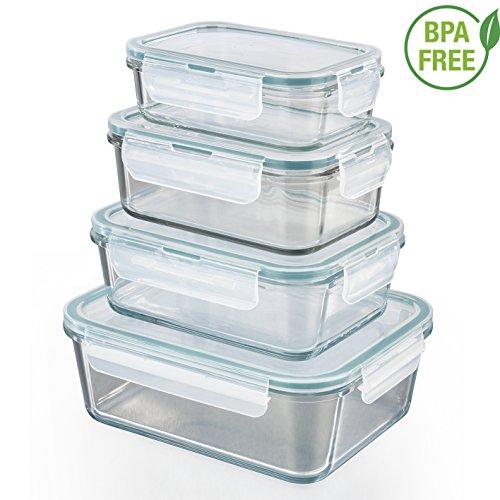 as-Frischhaltedosen | 4er Set Klick-It Dosen mit Deckel | Silikon Dichtungsring | Glasbehälter mit Deckel | Smaragdgrün ()