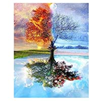 ZICHEN DIY Oil Painting Paint by Number Kit for Adult Kids-Dream Tree 16x20 Inch, Diy Oil Painting Drawing Colourful Canvas with Brushes Decor Decorations Gifts (Dife Tree)