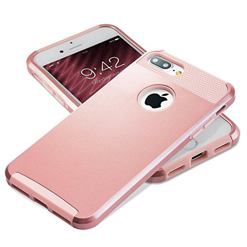iPhone 7 Plus Fall, technext020 haltbar Gel Rüstung Cover für iPhone 7 Plus Schutzhülle Stoßfänger Hybrid Hartplastik und weiche Silikonhülle Schwarz Armor rose