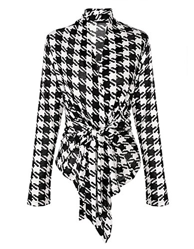 MEXI Damen Freizeit Plaid Long Sleeve Coat Freistich Jacket