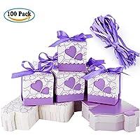 Cajas de Boda Regalo – Meersee 100 Cajas de Bautizo Caramelo Cumpleaños Dulces Bombones Regalos Detalles con Cintas para Invitados de Boda Fiesta Comunion, Bautizo Cumpleaños (púrpura)
