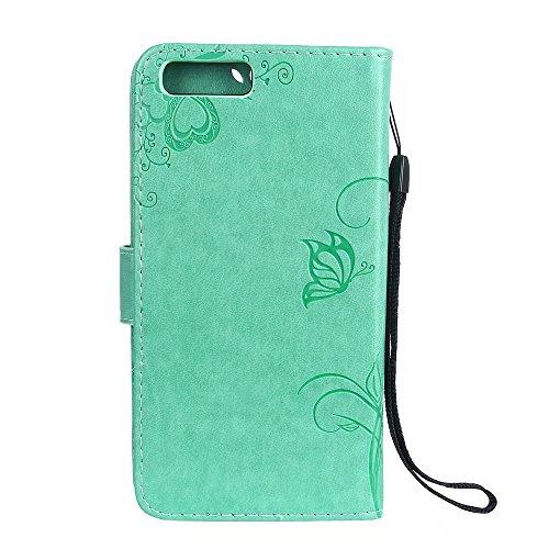 Horizontale Bookstyle Flip Case Premium PU Ledertasche, Massiv geprägte Blumen Schutzbrieftasche Tasche mit Deckel und Streifen für Xiaomi 6 ( Color : Gray ) Green