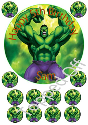 """Image of Hulk 1 x 7.5"""" & 12 x 1.5"""" round fondant icing edible cake topper and printed with your custom greeting (Birthday Pack) (FREE UK SHIPPING)"""