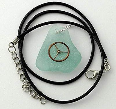 Steampunk pendentif verre de mer.