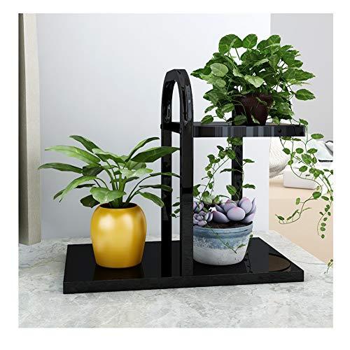 CHENGXI Kleine Blume Stand Pflanze Stand Regal Desktop blumentopf Halter Mini Rack lagerregal Blume Stand innendekoration Rahmen (Color : Black, Size : Second Floor)
