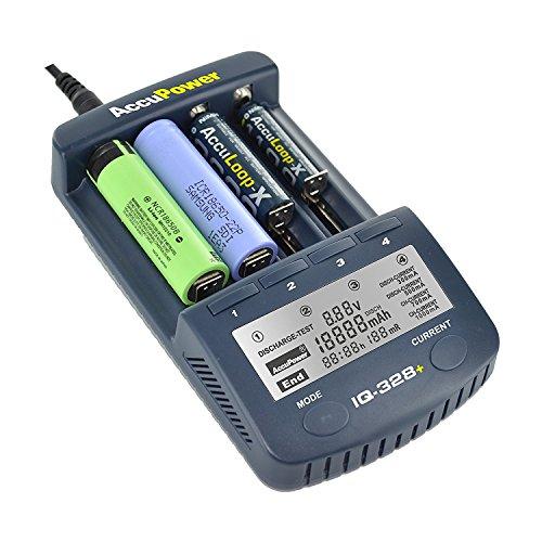 AccuPower IQ328+ V2 Ladegerät für 18650 Li-Ion Akkus/AA/AAA mit Kapazitätsmessung, Displaybeleuchtung uvm