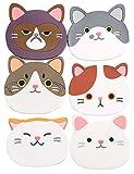 TOP819Trade–Set di 6cute Cartoon Cat Cup silicone sottobicchiere tazza tappetini in gomma facce per vino, vetro, tè, bevanda, birra, casa idea regalo