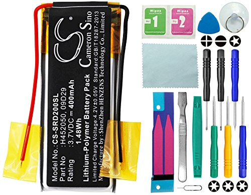 CS Akku, 400mAh Li-Polymer passend für Cardo Q2, Q2 pro, ersetzt Cardo 09D29, H452050 mit 14 in 1 Reparatur Werkzeug Set Kit