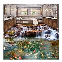 Jqpwan Mural 3D Floor Wallpaper Waterfall Carp Bathroom Floor Mural Paintings 3D PVC Self-Adhesive Wall Sticker Wallpaper Waterproof-350X250Cm
