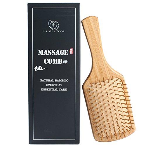 Massaggio pettine,luollove 100% bambù spazzola maniglia confortevole fatta a mano,spazzola per capelli per il relax e lo styling,con confezione regalo