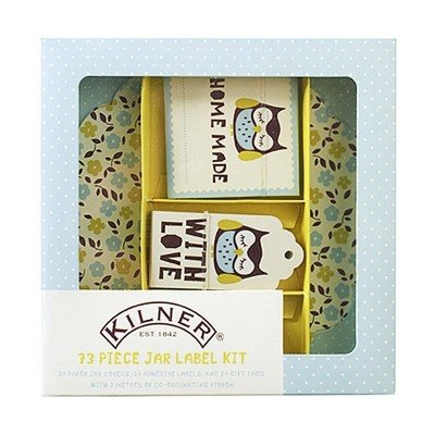 NEW 73pc JAM JAR LABEL KIT COVERS RIBBON HOME MADE JAM PRESERVES KILNER OWL (Conserve Gift Box)