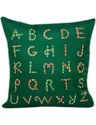 hmlai Navidad decorativo impresión fundas de almohada verde sofá cama decoración del hogar funda de almohada Funda de cojín, 45cmx45cm, do