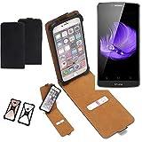 K-S-Trade Flipstyle Case für TP-LINK Neffos C5L Schutzhülle Handy Schutz Hülle Tasche Handytasche Handyhülle + integrierter Bumper Kameraschutz, schwarz (1x)