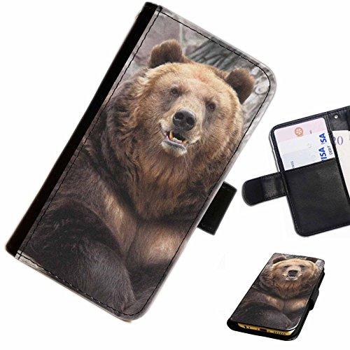 Hairyworm- Bären Apple Iphone 4, 4s Leder Klapphülle Etui Handy Tasche, Deckel mit Kartenfächern, Geldscheinfach und Magnetverschluss.