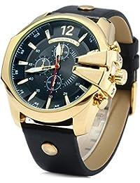Reloj de cuarzo con cronógrafo para hombre vestidos Curren correa de piel de colour negro y dorado