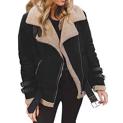 iHENGH Damen Warm bequem Parka Winter Jacke Faux Pelz Fleece Parka Mantel Outwear Revers Biker Motor Aviator (XL, Schwarz)