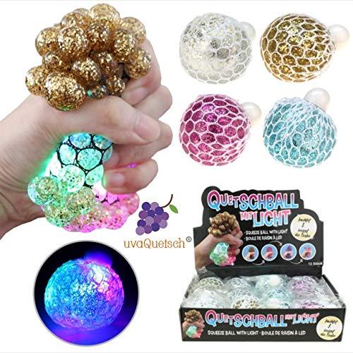 UvaQuetsch ® LED-Glitzer Quetschball +++ LED-Licht +++ inkl. Geschenkbox +++ Antistressball Stressball Knetball Quetschi