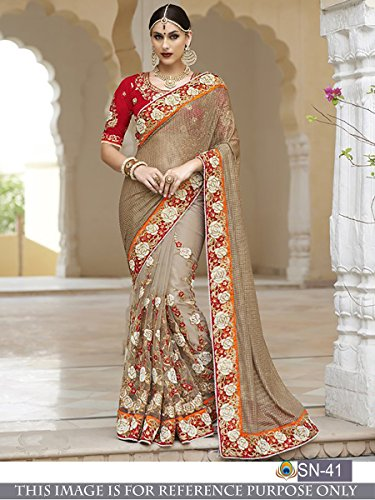 Sunshine Fashion Grey Color Victori Silk,Naylon Mono Net Fabric Thread Fancy Work Saree ( New Arrival Latest Best Choice and Design Beautiful Sarees and Salwar suits and Dress Material Collection Fo