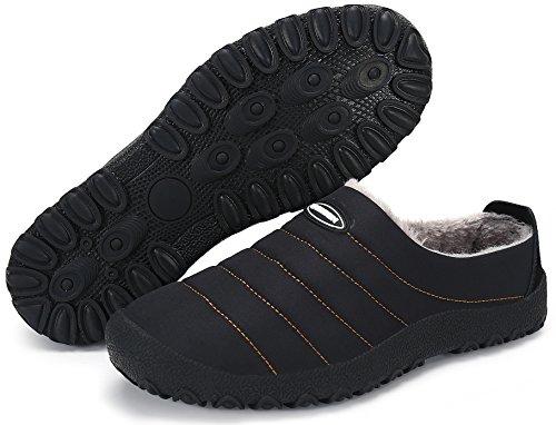 UMmaid Herren Damen Plüsch Winter Hausschuhe Warm Gefütterte Pantoffeln Outdoor Freizeit Schuhe Home Slippers,Schwarz 40 EU