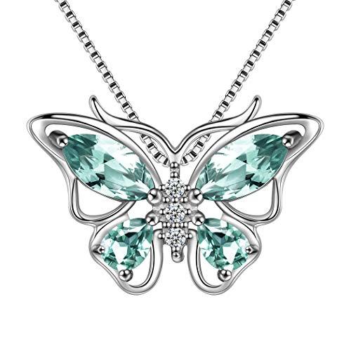 AuroraTears Damen Kette mit Anhänger Schmetterling Stein Design Halskette 925 Sterling Silber Hellgrün... - Stück Mutter-töchter-halskette, 3