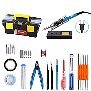 Kit di saldatore, Volador 220V 60W saldatura elettrico regolatore di temperatura, 5pcs punti diversi, Pompa dissaldante,–Pinzette, schiuma, Supporto e scatola a strumenti
