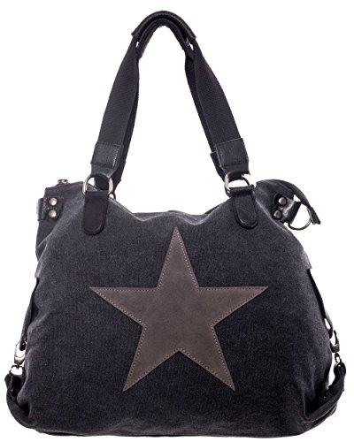 Damen handtasche canvas Tasche henkeltasche canvas mit Stern schultasche canvas mit extra langen Henkel leder