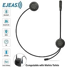 EJEAS Auriculares de intercomunicación Bluetooth para casco de moto, Auriculares dúplex completos con micrófono para pasajeros Soporte de llamadas telefónicas / Música / Walkie Talkie Comunicación con entrada AUX - E200 [Versión 2018]