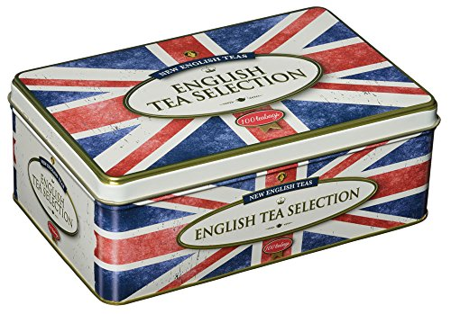 New English Teas - English Tea Selection (Breakfast, Earl Grey, Afternoon) 100 Tea Bags - Union Jack Vintage Tin
