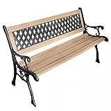 luckyfu Modernes Design Möbel Outdoor Möbel im Freien Outdoor Bänke mit Material: Holz + Metall, Bänken Garten Bank mit Diamond-Patterned Rückenlehne Nostalgic