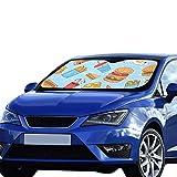 Sonnenschutz Autofenster Fast Food Hamburg Pizza Fries Zeichnung Faltbarer Sonnenschutz Für maximalen UV- und Sonnenschutz Halten Sie Ihr Fahrzeug kühl 140 x 75 cm (55 x 30 Zoll) Süßer Sonnenschutz f