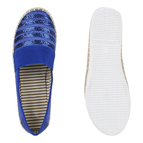 Damen Espadrilles Bast Slipper Streifen Glitzer Flats Blau