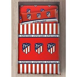 Atl/ético de MadridParure de lit avec drap plat et taie doreiller officielle du clubMascotte Indi Cama 90 cm