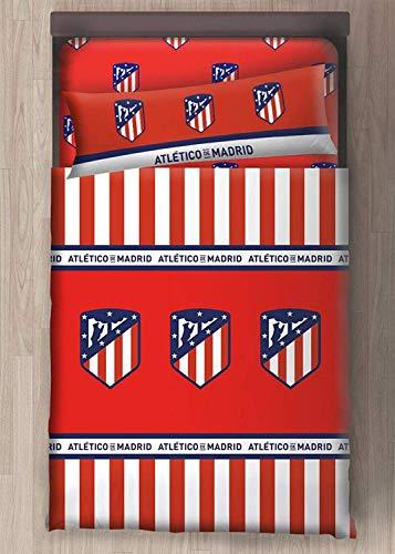 Atletico de Madrid Juego Sabanas 3 Piezas Bajera, Funda de Almohada, Encimera 105 cm