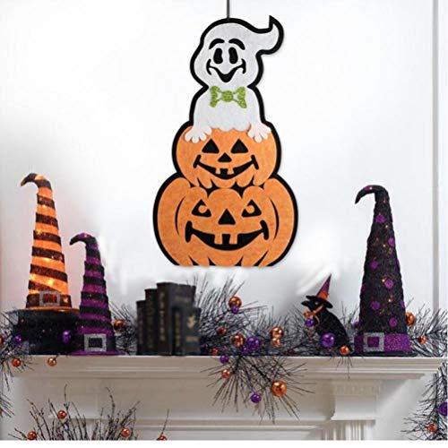PiniceCore Kürbis-Geist-Spinne-Tür-Aufhänger Horrible Hängen Faltbare Spaß Tür Flur Aufhänger Halloween-Party Requisiten Dekorationen