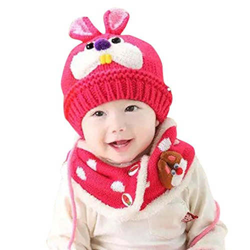 Babybekleidung Hüte & Mützen Longra Baby Schal jungen Mädchen Kleinkinder Hasen Zähne Schal Kind Schal Hüte Mützen (Hot Pink)