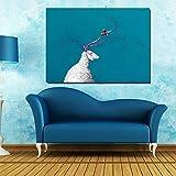 NIMCG Modello Vintage Tela Moderna Disegnata a Mano Pittura a Olio Immagine Astratta opere d'Arte Decorazioni per la casa Fatto a Mano Barca Blu e Costruzione della Città (Senza Cornice) A3 35x70 cm