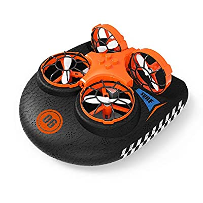 EACHINE Mini Drone for Kids,Remote Control Boats for Pools and Lakes,RC Car for Kids or Adults, E016F 3-in-1 Sea-Land-Air Mode Switchable Waterproof Hovercraft Toy RC Quadcopter RTF